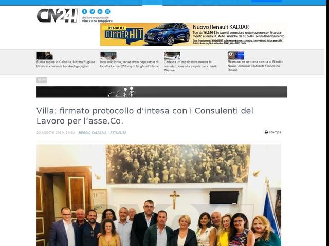 Villa: firmato protocollo d'intesa con i Consulenti del Lavoro per l'asse.Co.