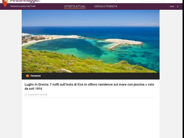 Luglio in Grecia: 7 notti sull'isola di Kos in ottimo residence sul mare con piscina + volo da soli 191€