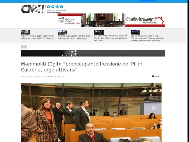 """Mammoliti (Cgil): """"preoccupante flessione del Pil in Calabria, urge attivarsi"""""""