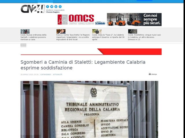 Sgomberi a Caminia di Stalettì: Legambiente Calabria esprime soddisfazione