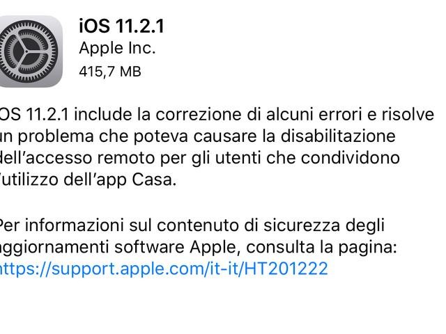 Apple rilascia iOS 11.2.1