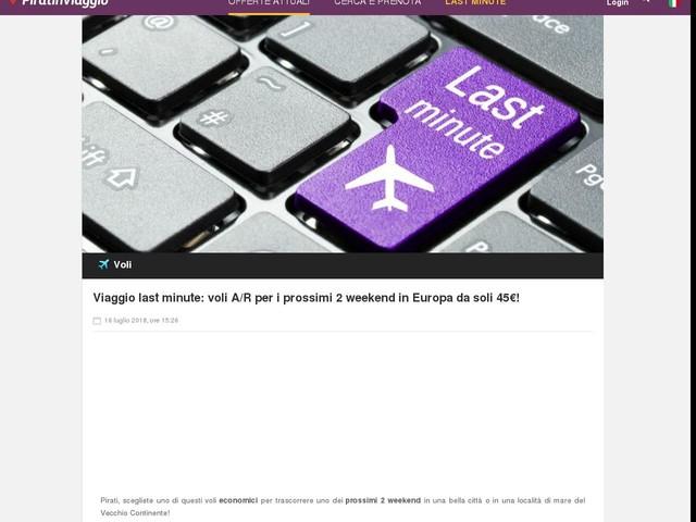 Viaggio last minute: voli A/R per i prossimi 2 weekend in Europa da soli 45€!