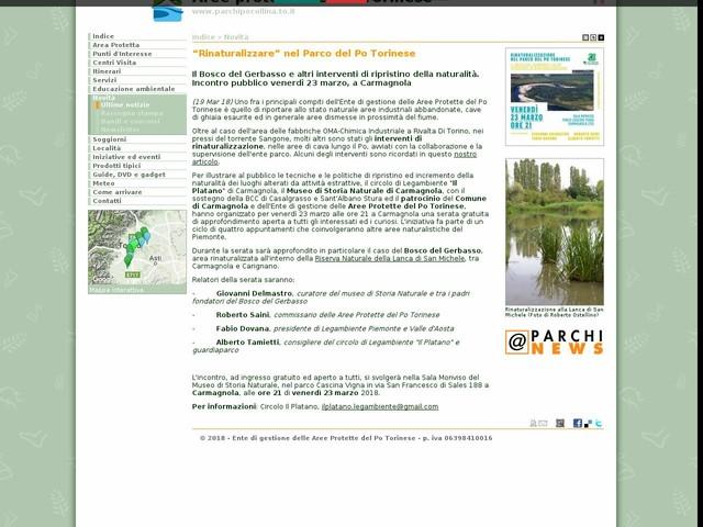 """Aree Protette Po Torinese - """"Rinaturalizzare"""" nel Parco del Po Torinese"""