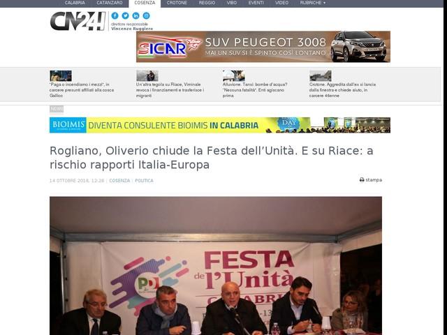 Rogliano, Oliverio chiude la Festa dell'Unità. E su Riace: a rischio rapporti Italia-Europa