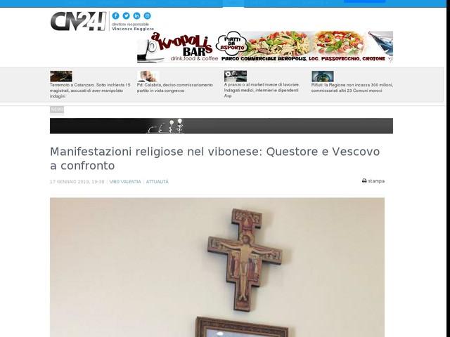 Manifestazioni religiose nel vibonese: Questore e Vescovo a confronto