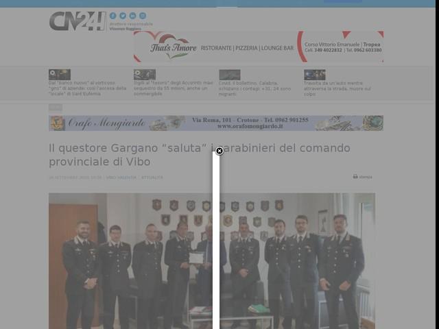 """Il questore Gargano """"saluta"""" i carabinieri del comando provinciale di Vibo"""