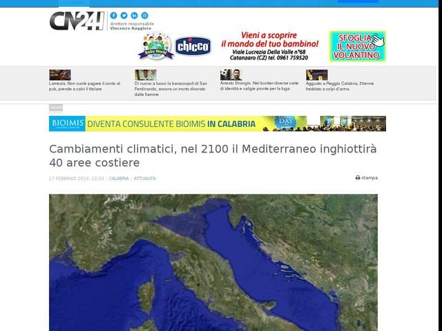 Cambiamenti climatici, nel 2100 il Mediterraneo inghiottirà 40 aree costiere