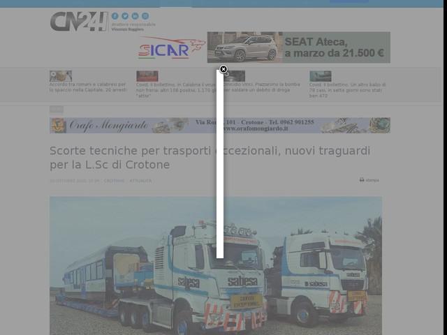 Scorte tecniche per trasporti eccezionali, nuovi traguardi per la L.Sc di Crotone
