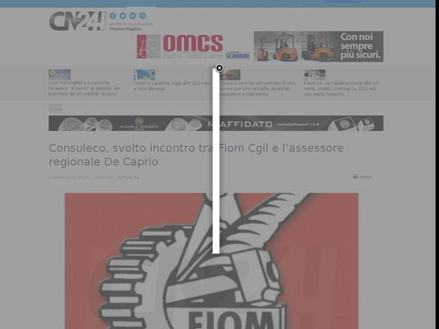 Consuleco, svolto incontro tra Fiom Cgil e l'assessore regionale De Caprio