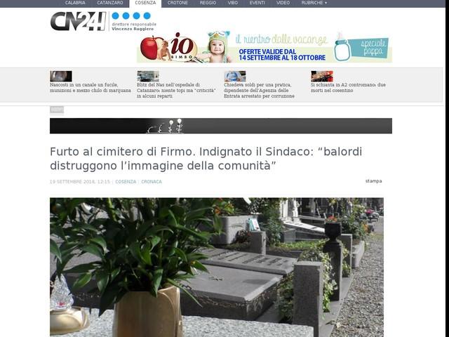 """Furto al cimitero di Firmo. Indignato il Sindaco: """"balordi distruggono l'immagine della comunità"""""""