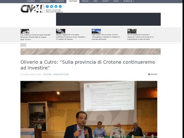 """Oliverio a Cutro: """"Sulla provincia di Crotone continueremo ad investire"""""""
