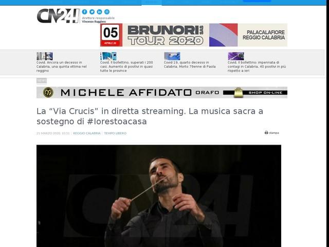"""La """"Via Crucis"""" in diretta streaming. La musica sacra a sostegno di #Iorestoacasa"""