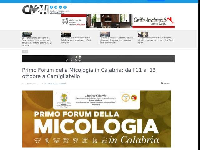 Primo Forum della Micologia in Calabria: dall'11 al 13 ottobre a Camigliatello