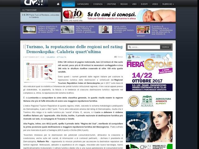 Turismo, la reputazione delle regioni nel rating Demoskopika: Calabria quart'ultima