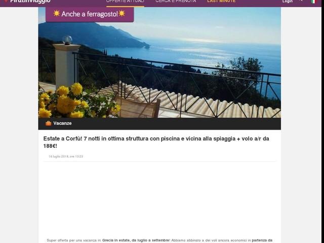 Estate a Corfù! 7 notti in ottima struttura con piscina e vicina alla spiaggia + volo a/r da 188€!