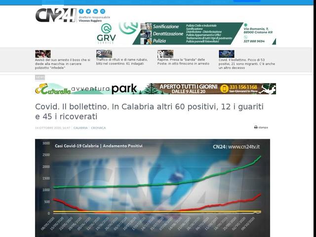 Covid. Il bollettino. In Calabria altri 60 positivi, 12 i guariti e 45 i ricoverati