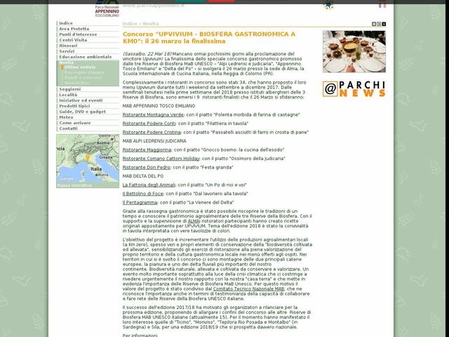 """PN Appennino Tosco-Emiliano - Concorso """"UPVIVIUM - BIOSFERA GASTRONOMICA A KM0"""": il 26 marzo la finalissima"""