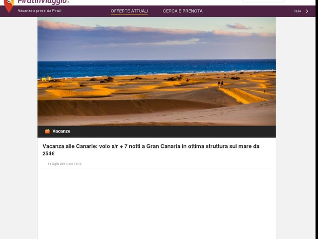 Vacanza alle Canarie: volo a/r + 7 notti a Gran Canaria in ottima struttura sul mare da 254€