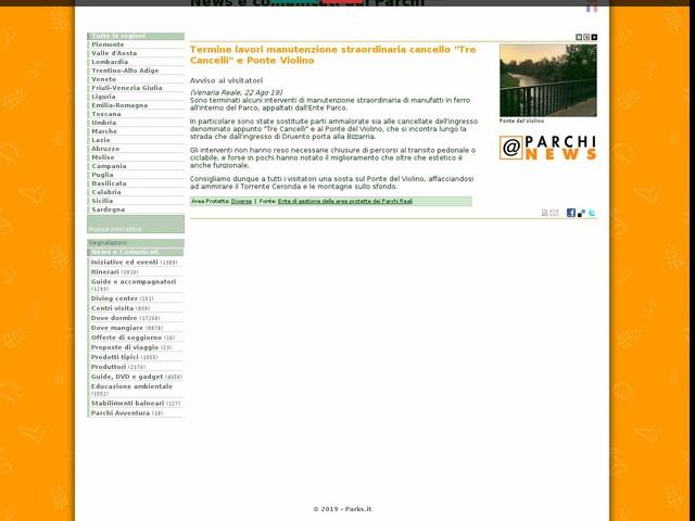 """Ente di gestione delle aree protette dei Parchi Reali - Termine lavori manutenzione straordinaria cancello """"Tre Cancelli"""" e Ponte Violino"""