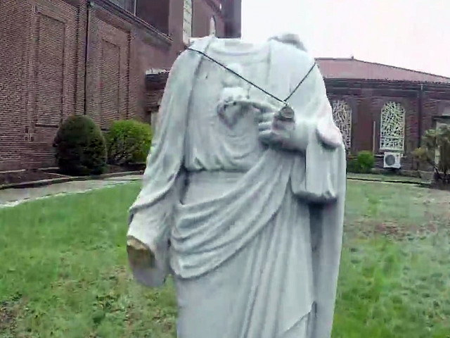 Statue Of Jesus At Waltham Church Beheaded