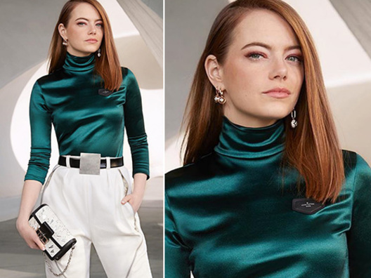 Emma Stone stilosa alla sfilata Vuitton