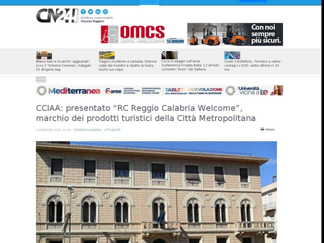 """CCIAA: presentato """"RC Reggio Calabria Welcome"""", marchio dei prodotti turistici della Città Metropolitana"""
