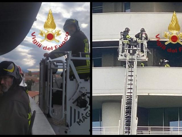 A fuoco il climatizzatore di un centro benessere, vigili del fuoco in azione alle Torri Camuzzi