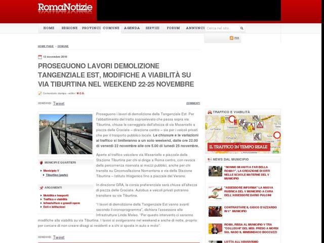 Proseguono lavori demolizione Tangenziale Est, modifiche a viabilità su via Tiburtina nel weekend 22-25 novembre