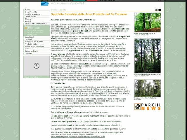 Aree Protette Po Torinese - Sportello forestale delle Aree Protette del Po Torinese