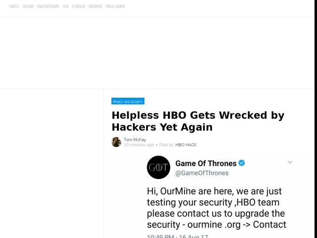 Helpless HBO Gets Wrecked by Hackers Yet Again