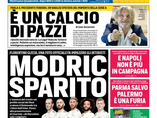 Corriere dello Sport – Modric sparito