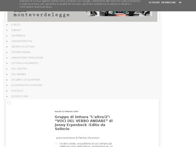"""Gruppo di lettura """"L'altro/2"""": """"VOCI DEL VERBO ANDARE"""" di Jenny Erpenbeck -Edito da Sellerio"""