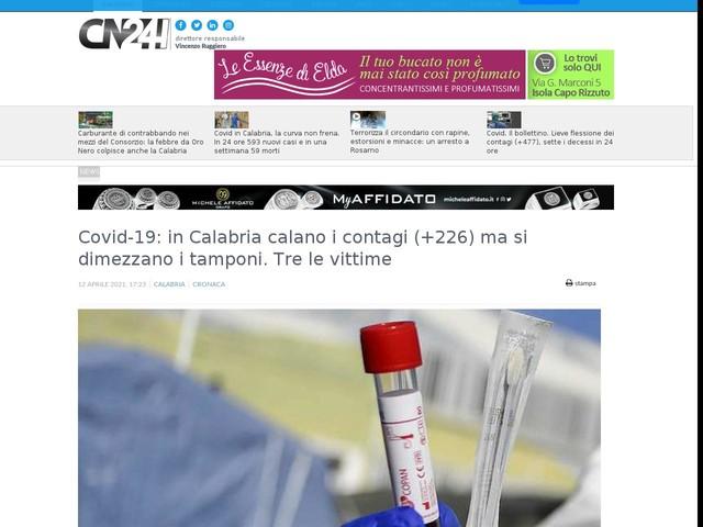 Covid-19: in Calabria calano i contagi (+226) ma si dimezzano i tamponi. Tre le vittime