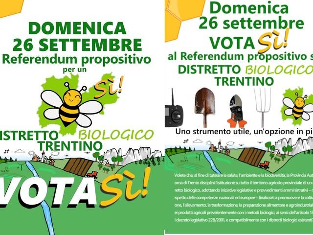 Il 26 settembre referendum sul biodistretto in Trentino