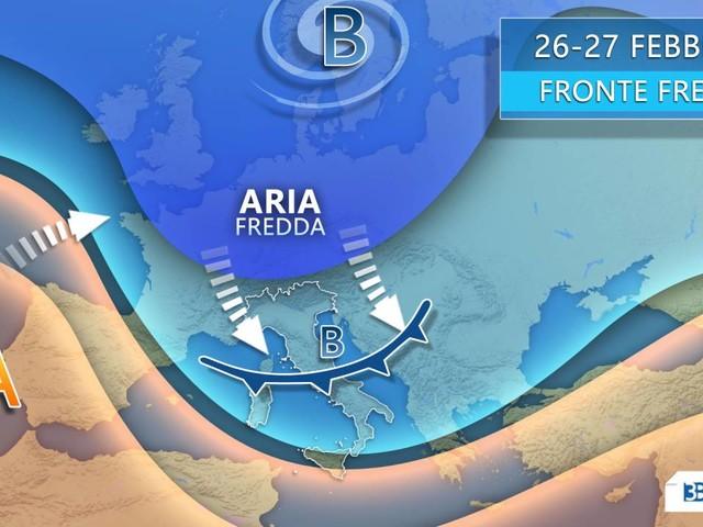 Meteo - Mercoledì delle Ceneri si CAMBIA. Fronte freddo sull'Italia con pioggia, NEVE e VENTO. Ultimi aggiornamenti