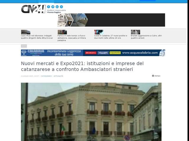 Nuovi mercati e Expo2021: istituzioni e imprese del catanzarese a confronto Ambasciatori stranieri