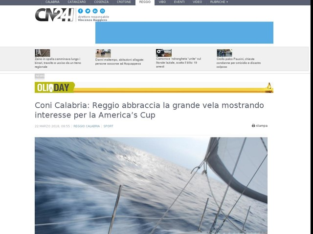 Coni Calabria: Reggio abbraccia la grande vela mostrando interesse per la America's Cup