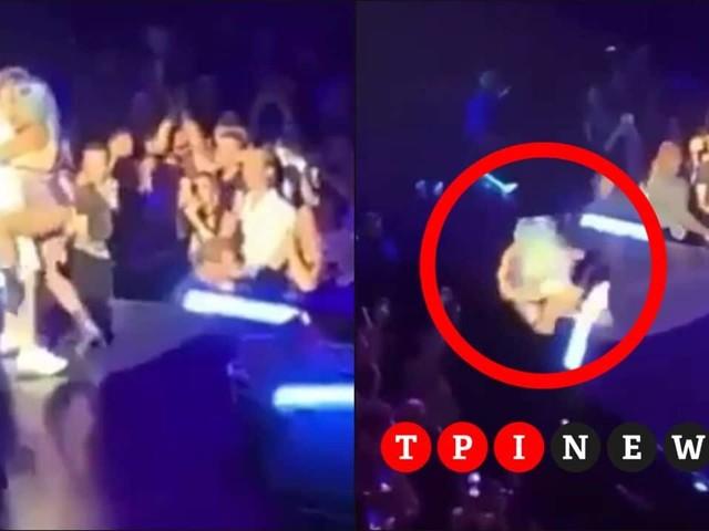 Lady Gaga e la brutta caduta dal palco insieme a un fan | VIDEO