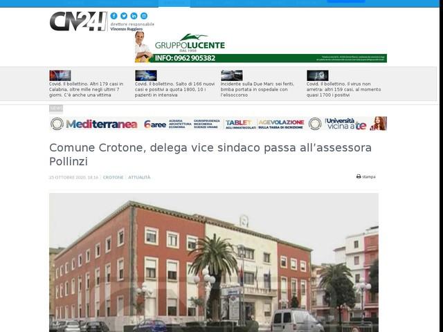 Comune Crotone, delega vice sindaco passa all'assessora Pollinzi