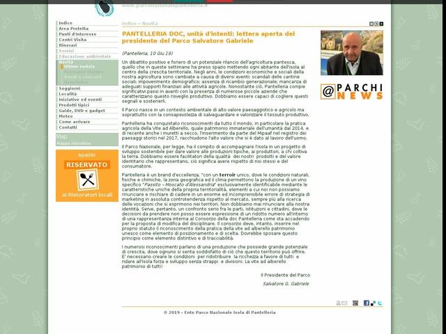 PN Isola di Pantelleria - PANTELLERIA DOC, unità d'intenti: lettera aperta del presidente del Parco Salvatore Gabriele