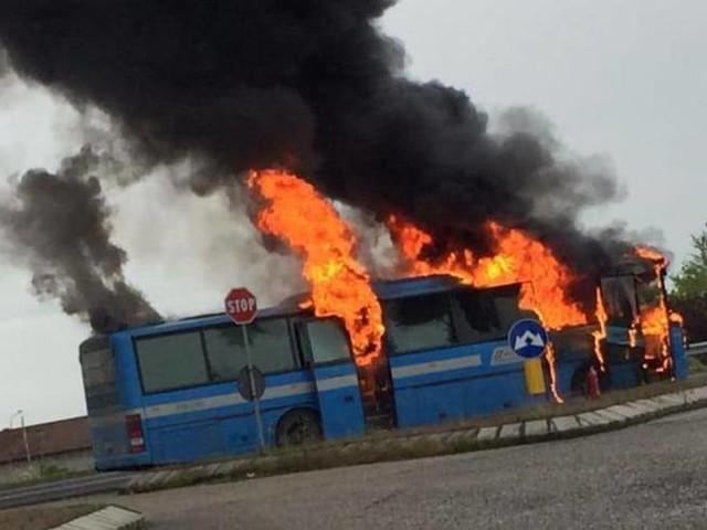 Rovigo, incendio distrugge una corriera: tutti salvi gli studenti
