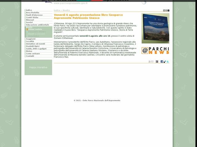 PN Aspromonte - Venerdì 6 agosto presentazione libro Geoparco Aspromonte Patrimonio Unesco