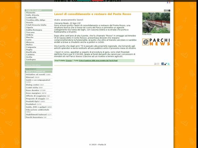 Ente di gestione delle aree protette dei Parchi Reali - Lavori di consolidamento e restauro del Ponte Rosso