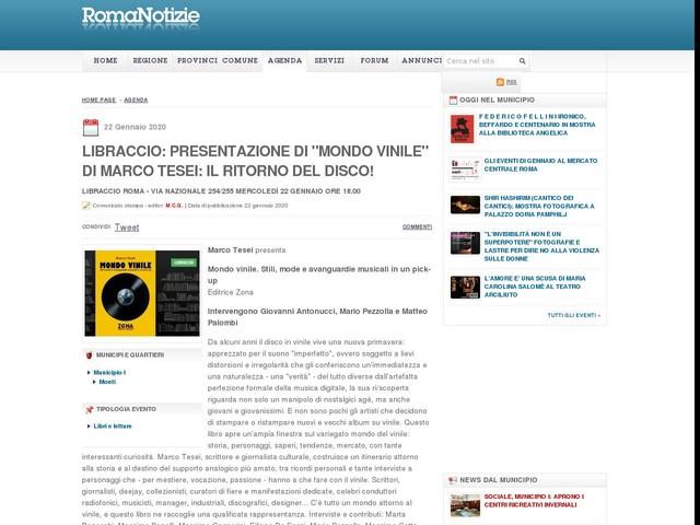 """Libraccio: presentazione di """"Mondo vinile"""" di Marco Tesei: il ritorno del disco!"""