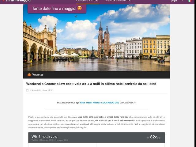Weekend a Cracovia low cost: volo a/r + 3 notti in ottimo hotel centrale da soli 82€!