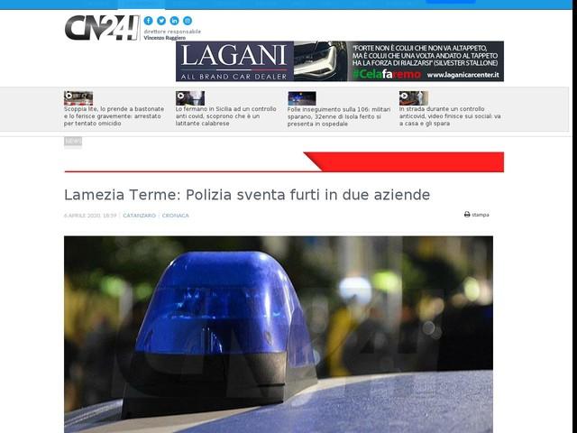 Lamezia Terme: Polizia sventa furti in due aziende
