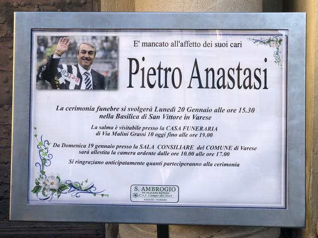 """Folla commossa per Anastasi: """"Un esempio per tutti"""""""