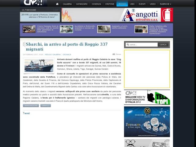 Sbarchi, in arrivo al porto di Reggio 337 migranti
