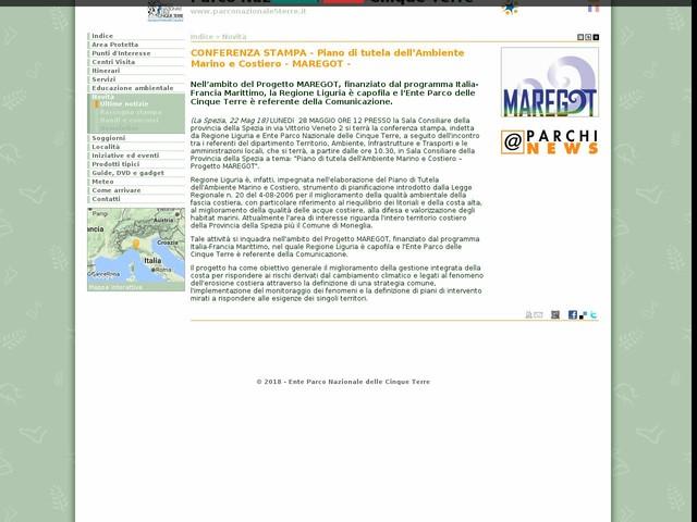 PN Cinque Terre - CONFERENZA STAMPA - Piano di tutela dell'Ambiente Marino e Costiero - MAREGOT -