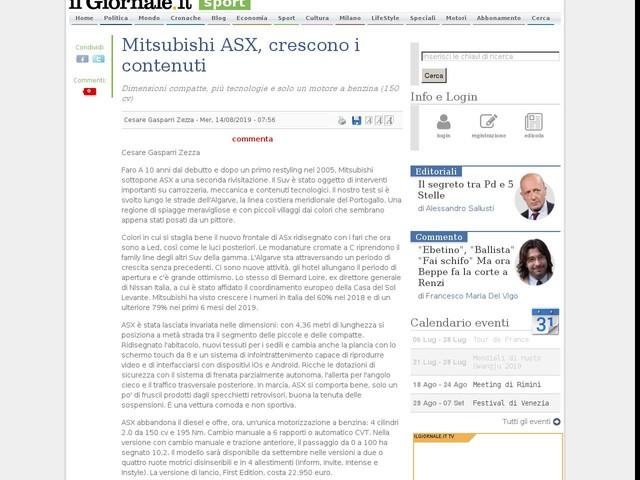 Mitsubishi ASX, crescono i contenuti